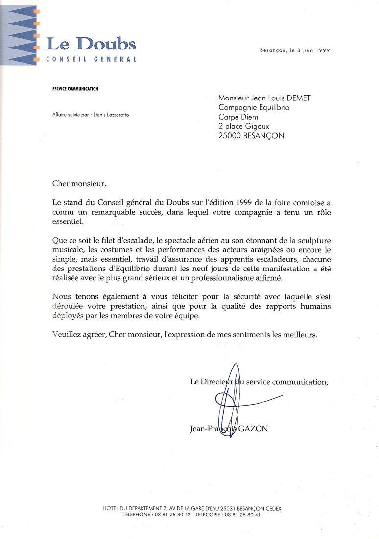 Presse et lettres de remerciements jean louis demet for Monteur de stand
